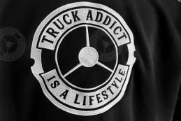 Sweat Truck Addict Homme Noir brodé Blanc